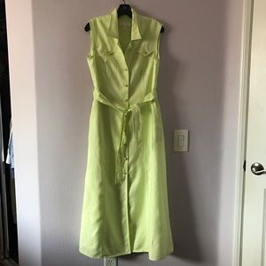 Vintage lime green Escada linen maxi dress